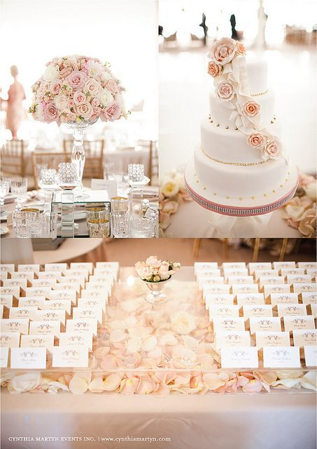 Blush colored tablescape for wedding