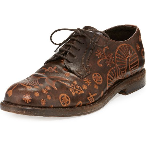 Valentino Santeria Etched Lace-Up Shoe ($587) ❤ liked on Polyvore featuring men's fashion, men's shoes, men's dress shoes, brown, men's shoes lace up shoes, mens round toe dress shoes, mens oxford dress shoes, mens brown oxford dress shoes, valentino mens shoes and mens brown dress shoes