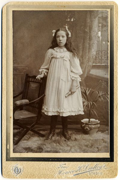 Antique Cabinet Card Photograph - Girl in Pinafore Dress c. 1900s