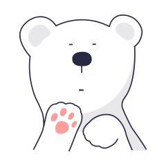 16 Super cute little white bear emoji gifs free emoticon download