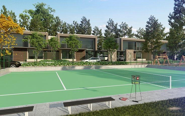 MORANDI - BAMBÚ: Conjunto Cerrado de 54 casas en Cajicá. Cuenta con Club House con piscina, sauna, turco, zona para gimnasio y salón social, cancha de tenis y microfútbol para uso recreativo, tres parqueaderos, amplias zonas verdes y vista a las montañas del municipio.
