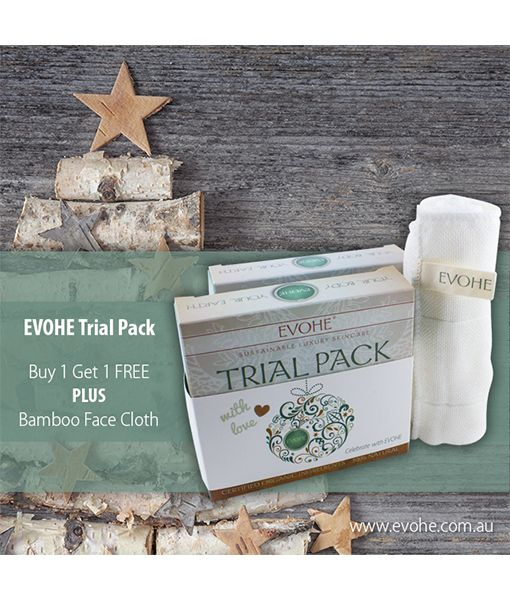 When you pick up an EVOHE Trial Pack this Christmas, you will receive a second pack and a Bamboo Face Cloth free. Share the EVOHE love with your family or friends. <3 www.evohe.com.au