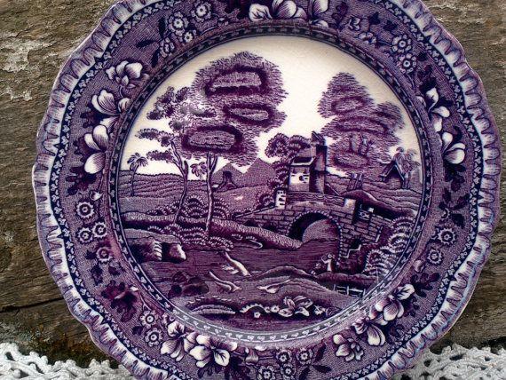 Antique Purple Transferware SIDE PLATE W. R. por CottonCreekCottage