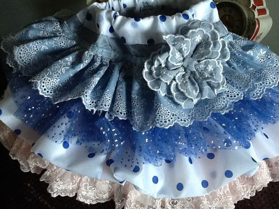 Artículos similares a Chanuka Denim and lace blue and white ruffled vintage  skirt by Rosanna Hope for Babybonbons en Etsy