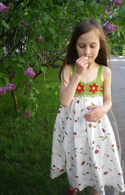"""Купить Сарафан """"Июль"""" - жаркое лето, июль, цветы, полянка, полевые цветы, прогулка"""