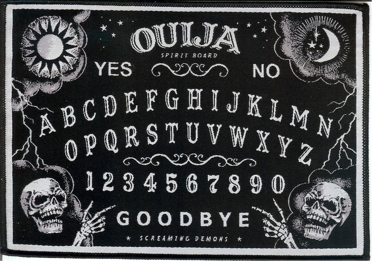 Ouija Board high quality woven fabric patch for sewing onto garments, accessories, bags or for Halloween Craft.