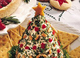 Great idea!  Christmas tree-shaped cheese ball. @Busy-at-Home/ Glenda Embree you should have Jenna do this for her next cheese ball. It's very fun.