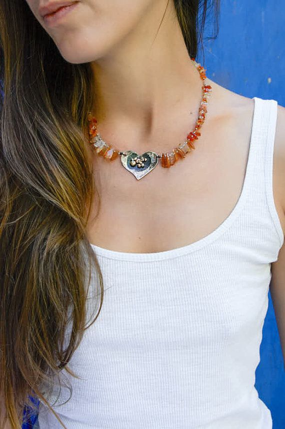Alpaca metal heart with carneol gemstone by Votsaloartstudio