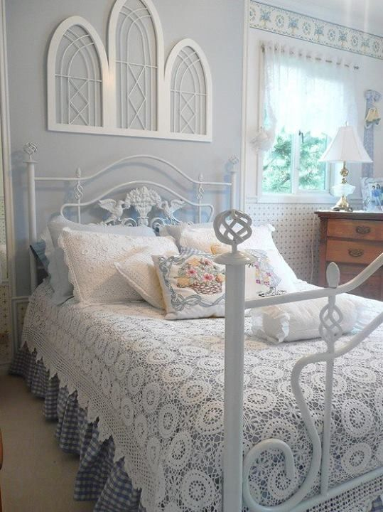White and blue bedroom.