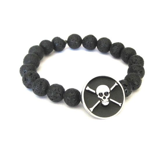 Gold-Coloured Bracelet from Rocking Leather Pirates Anchor Rivets Black 7dueus