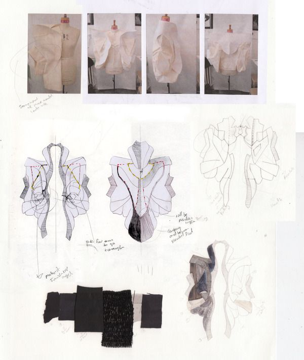 Fashion Sketchbook - experimental fashion design with dress drawings, design development & fabric samples; fashion portfolio // Rebecca Ward