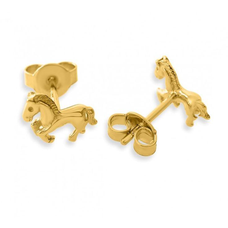 Wunderschöne Pferde Ohrstecker aus 925 Sterling Silber. Diese massiven Ohrstecker sind eine wundervolle Geschenkidee für jeden Pferdefan und werden in jedem Fall begeistern. Die Ohrstecker werden in Juwelierqualität hochwertig vergoldet.
