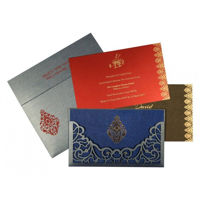 muslim wedding invitations mumbai%0A Blue shimmery damask themed  laser cut wedding invitations   ad    e