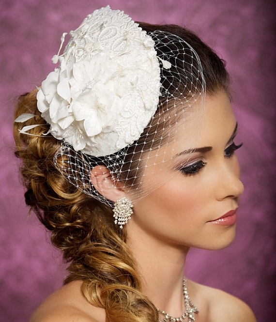 Lace Bridal Hat Bridal Hair accessory Teardrop by GildedShadows, $94.00