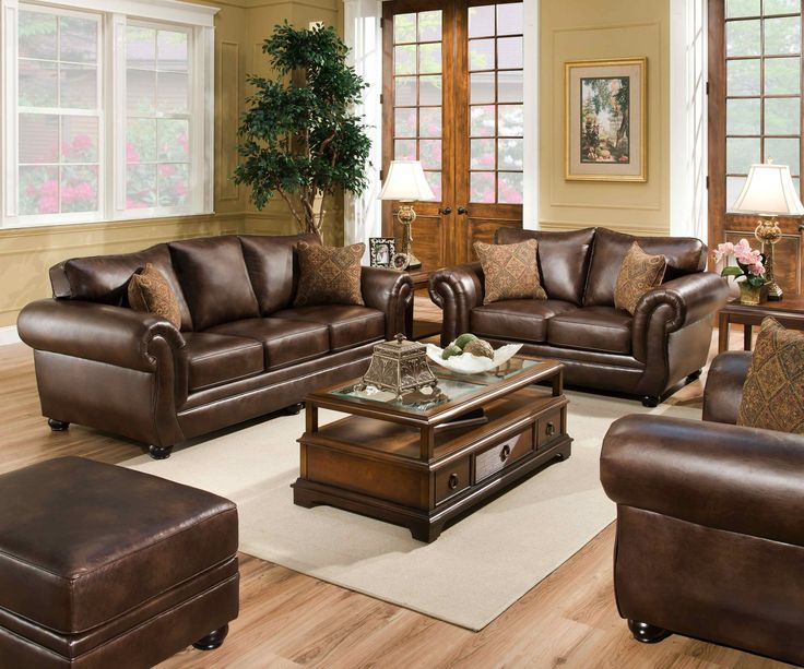 Simmons Leather Living Room Set