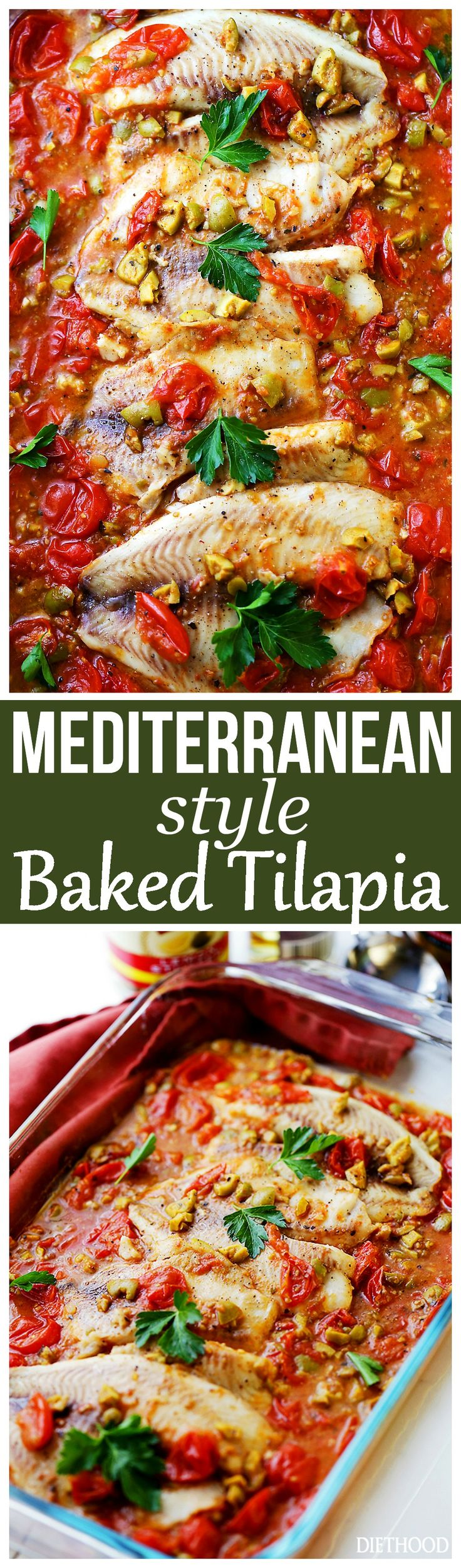 Mediterranean Style Baked Tilapia -  A quick, easy, and healthy fish recipe with olives and tomatoes that's perfect for a weeknight dinner, and fancy enough for a dinner party.