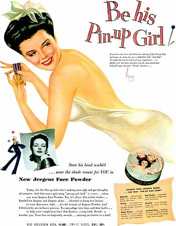 Jergens Face Powder Advert, Be His Pin-up Girl (1943) by Vargas