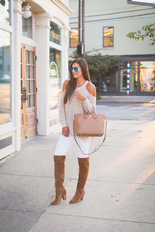 over the knee boots, cold shoulder sweater, white skinny jeans, tory burch…