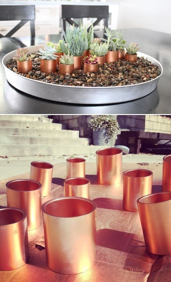 DIY Copper pvc pipes for succulents
