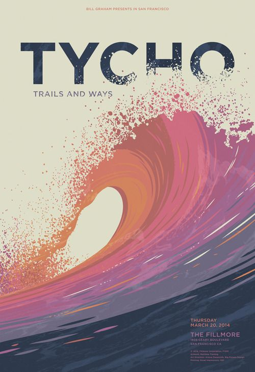 Illustration & Design by Matthew Fleming — Poster artwork for Tycho's show at The Fillmore in...