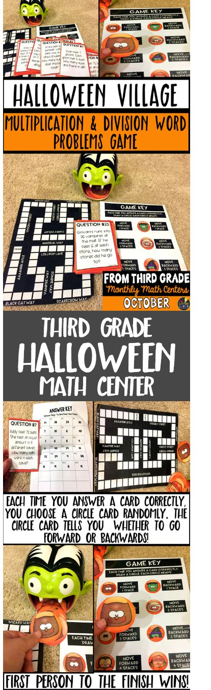 This Halloween math center is perfect for the month of October! Third graders will enjoy this Halloween math game that helps them practice finding the answers to multiplication and division word problems.   Halloween Village: Multiplication and Division Word Problems This Halloween math game is perfect practice for kids who need extra practice with multiplication and division word problems. Students lay out the game board and put an object of their choice on the start. They answer a question…