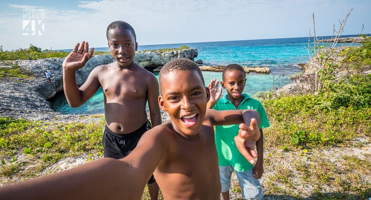 These kids were jumping off the cliffs in one of Jamaica's secluded beaches.