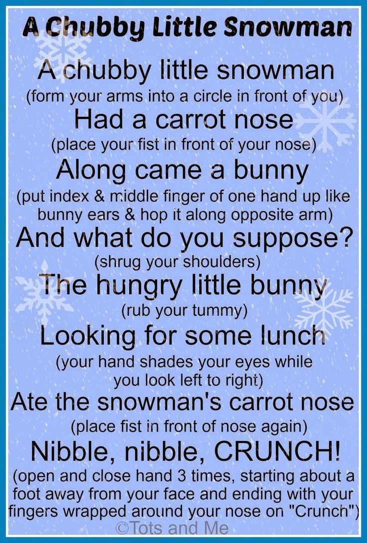 A chubby little snowman poem! Change the bunny to deer & you could use Stranger In The Woods book.