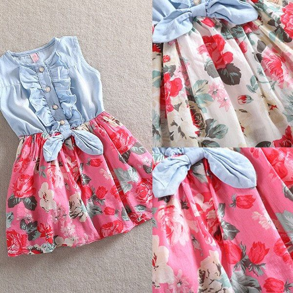 Little Suzy Dress. Sweet Girls  Toddler Sleeveles denim bow floral print dress. Perfect for Easter! Country style by hazelandmabelbyrosie on Etsy