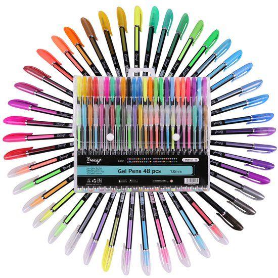 Gelpennen Set 48-Delig - Fluoriserend / Metallic / Glitter / Pastel Pen Gel Brush Kit