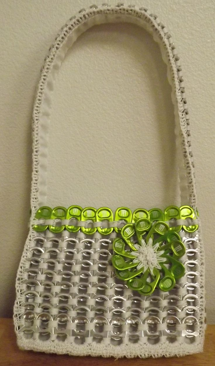 Small Pop Tab Purse, Made with Green Monster tabs, about 300 tabs.