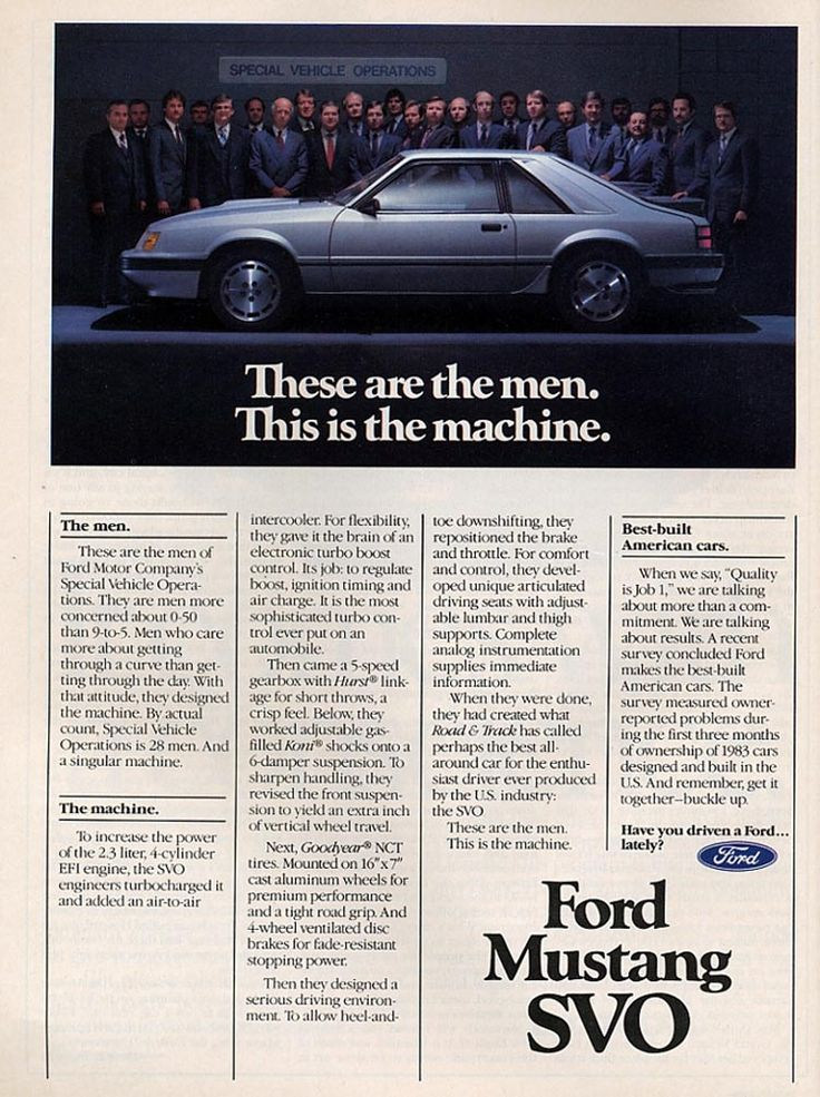 1984 Ford Mustang SVO Ad - The Wild Child's (slightly!) more powerful herdmate!
