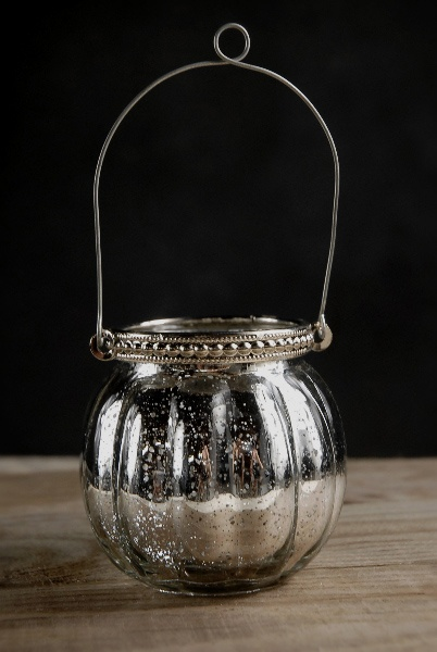 Hanging mercury glass candle holder 3in mercury glass for Hanging votive candles