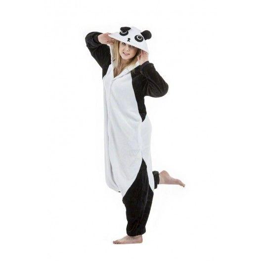 Cierno biely kigurumi overal s motivom pandy