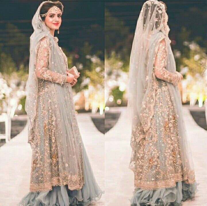 Pakistani bridal dress | walima | grey lehenga with golden embroidery | net dupatta