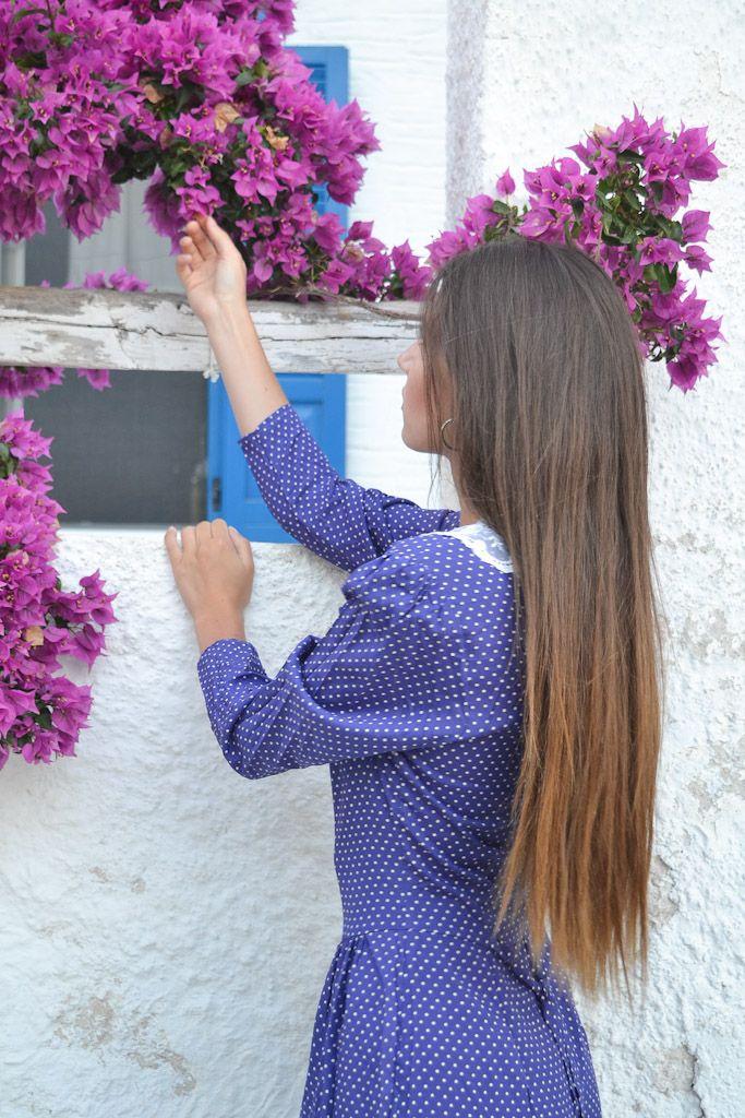 Purple flowers, Purple dress & vintage girl in Cyclades!