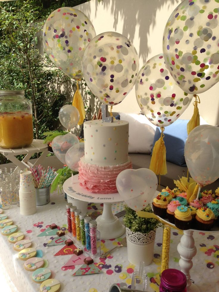 A beautiful confetti themed party I styled for a first birthday www.decorbyyael.com