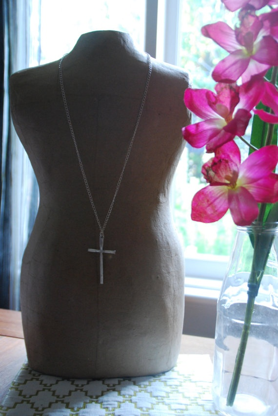 Silver Metal Cross Pendant Necklace by becsamdesigns on Etsy, $10.00