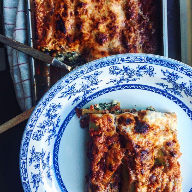 cannelloni med spenat, kronärtskocka, tomatsås och parmesankräm