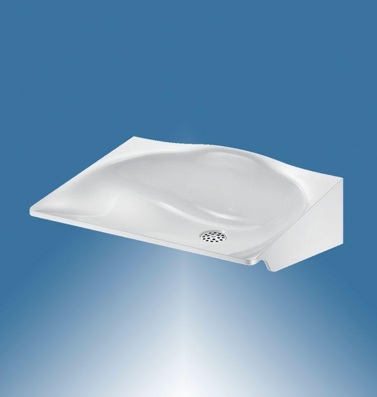 Waschtisch, MINERALSTAHL, für barrierefreie Waschräume, Wandmontage, ADL-150022D.4