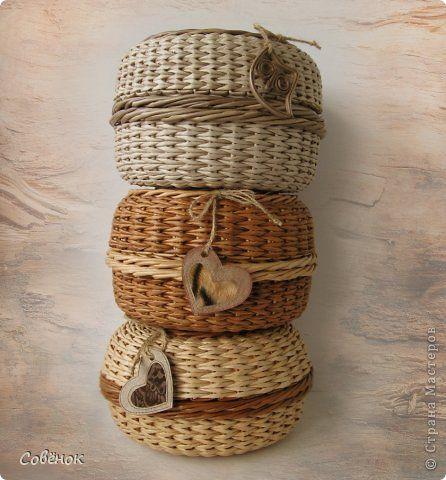 Поделка изделие Плетение Шкатулки из бумаги Бумага газетная Трубочки бумажные фото 1