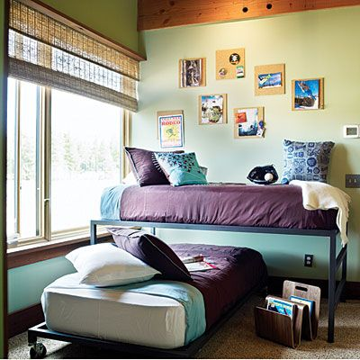 Trundle beds work well for older kids and help maximize a small space.: Teen Rooms, Kids Room, Bunk Bed, Small Bedroom, Bedrooms, Small Spaces, Trundle Beds, Beds Work, Bedroom Ideas