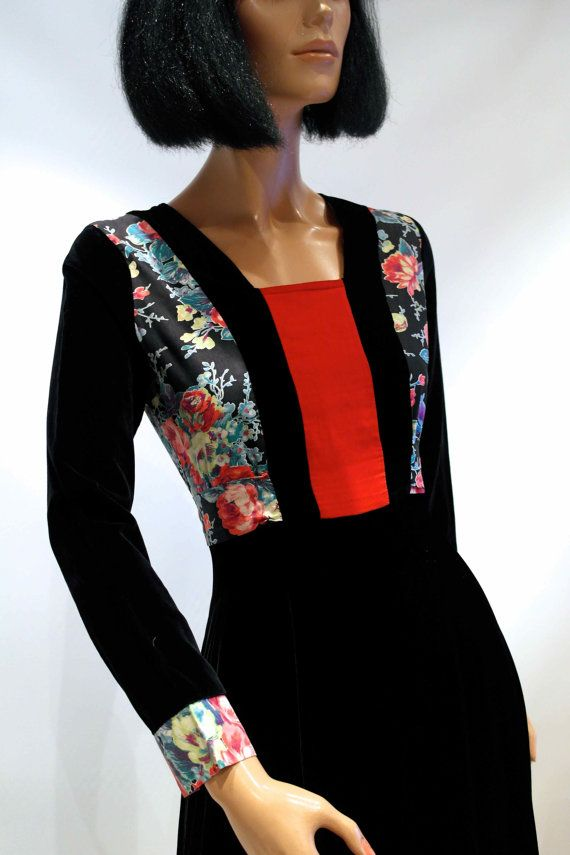 RARE early 70s MISS MOUSE black velvet long by VicAndBertieVintage, £90.00