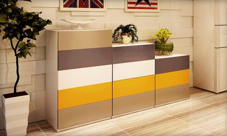 Современный комод с выдвижными ящиками цвета бежевый, коричневый, белый, темно-желтый купить в интернет-магазине мебели https://lafred.ru/catalog/catalog/detail/Bd6FZC6PsBAC/
