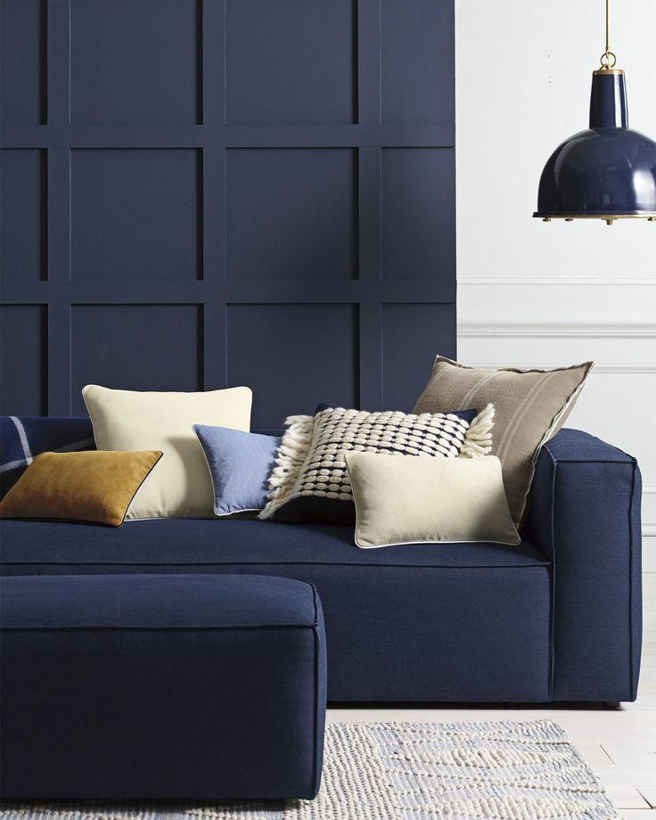 this navy blue sofa is perfect for a modern living room with dark rh pinterest com