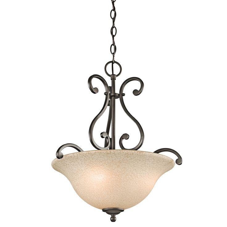 kichler camerena indoor pendant with bowlshaped glass shade olde bronze indoor lighting pendants