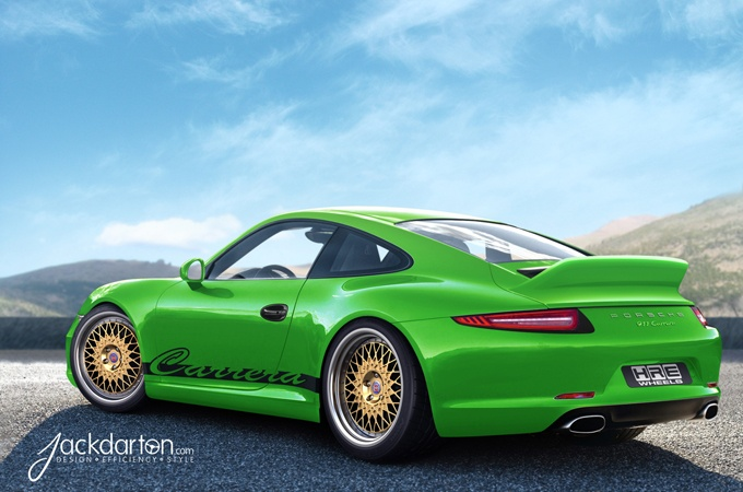 green porsche 911 carrera gold wheels Ugly wheels on an otherwise beautiful car.