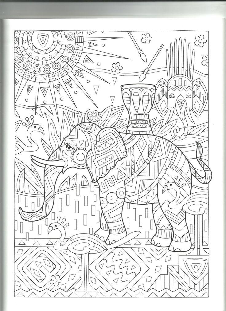 89 best elefantes images on Pinterest | Elephants, Adult coloring ...