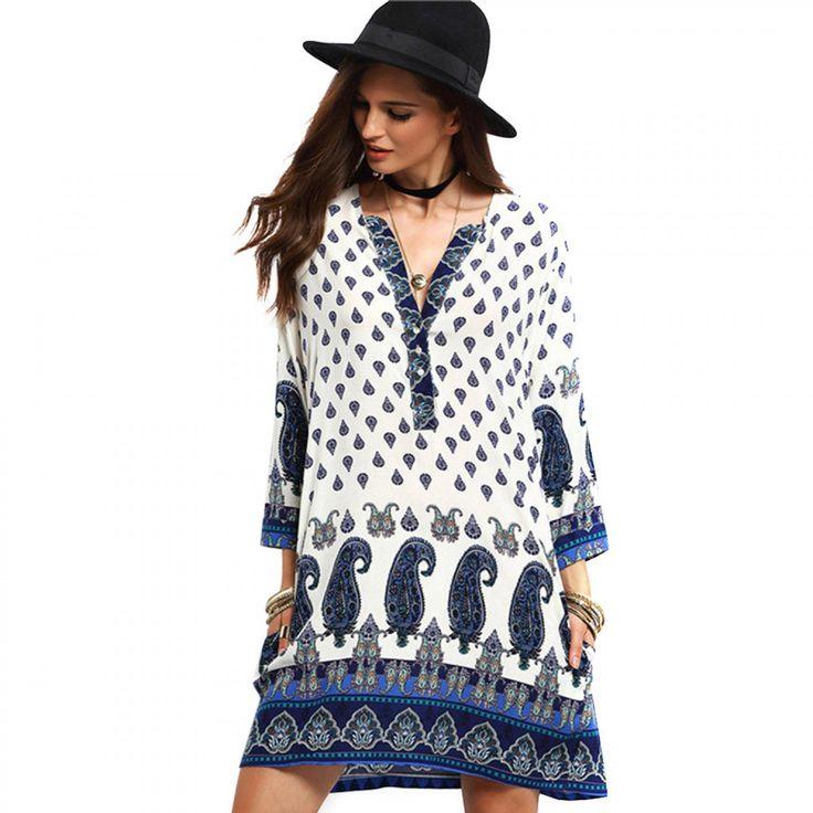 2017 New Autumn Women Vintage Dress V-neck Print Long Sleeve dress Loose Casual dress Mini Ethnic Dress Feminino Vestidos