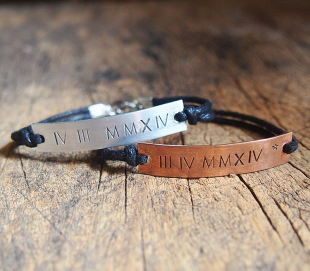 Roman Numeral Couples Bracelet, Customized Roman Numeral Bracelet, Matching roman numeral bracelet, personalized Anniversary bracelet