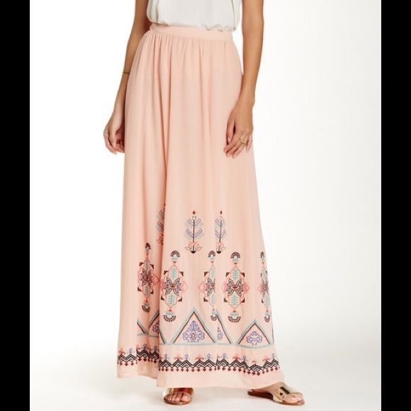 "Champagne & Strawberry peach maxi skirt - Side zip closure - Slight pleating  - Embroidered trim detail - Approx. 41"" length - Imported Fiber Content: Shell: 100% polyester Lining: 100% polyester Fit: this style fits true to size.  Bundle for even bigger savings! Offers welcome. No trades. Champagne & Strawberry Skirts Maxi"